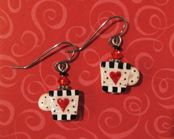 Black & White Coffee Cups Wire Earrings with Red Hearts Polymer Clay Jewelry