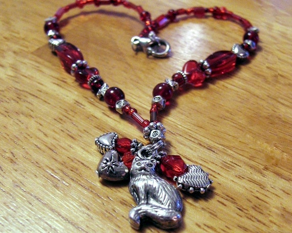Kitty Cat Sun Sparkler with Red Hearts Car Mirror Decoration Bling