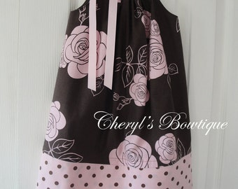 Shabby Rose Dress in Chocolate by Cheryl's Bowtique / 2014 Winter Collection. SALE