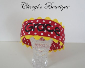 Red Polka Dot Monogrammed Headband by Cheryl's Bowtique / 2015 Collection