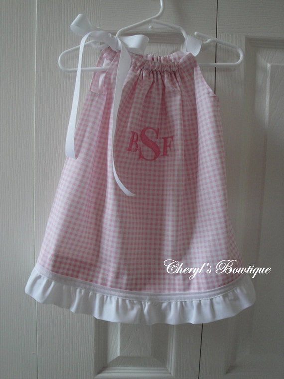 Pink GIngham Monogrammed Heirloom-Style Dress by Cheryl's Bowtique /  2014 Collection