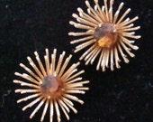 RAZZLE DAZZLE Vintage 60s Earrings Starburst Large Rhinestone Topaz Clip On Coventry