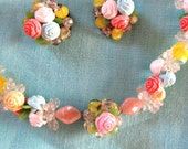 Spring Roses Floral Demi Parure 50s Vintage Necklace Earrings Clip Plastic Glass Beads