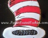 Custom Listing - Cat in the Hat decorated cookie, Cat in the Hat cookie favor