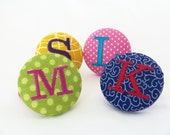 Personalized Ponytail Holder, Fabric Covered Button, Your Choice Fabric and Thread