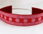 Non Slip Headband, Embroidered Red Pink Asian Inspired, Thick - DeMossDesigns