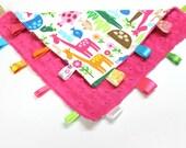 Girl Zoo Tag Lovey, Girly Animals, Pink Minky Dot, Ribbon Lovey