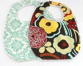 Teal Red Bib Pair, Damask Floral, Terry Cloth, Snap, Alexander Henry