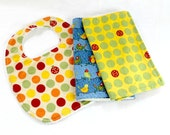 Bib Burp Cloth Set, Birds Ladybugs Dots, Terry Cloth, Snaps