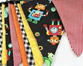 Robot Reversible Fabric Flag SALE Bunting, Black Orange Red Yellow, 10 Flag with Black Ribbon