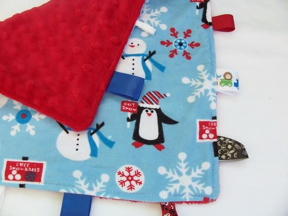 Winter Snow Ribbon Lovey Tag Blanket- Monogramming available