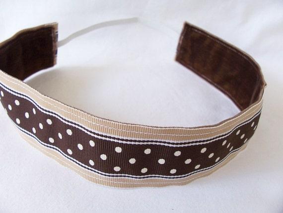 Non Slip Headband Preppy Brown Dot Thick