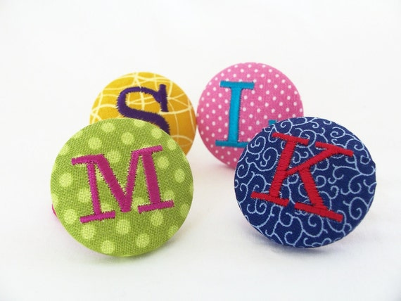 Personalized Party Favors, Ponytail Holders, Quantity of 4 or More, Fabric Covered Button, Your Choice Fabric and Thread