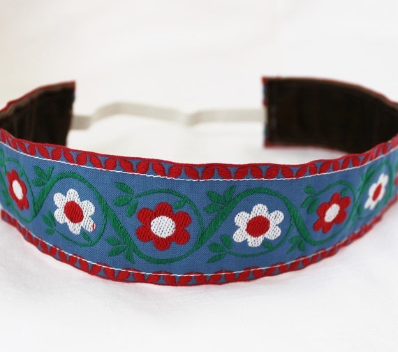Sweaty Band, Non Slip Headband, Blue Red Floral Embroidered Ribbon Trim, Thick