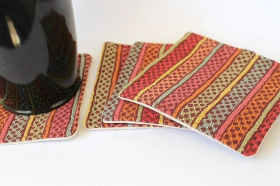 Striped Fabric Coasters,  Natural Backing, Upholstery Fabric, Reversible set of 4