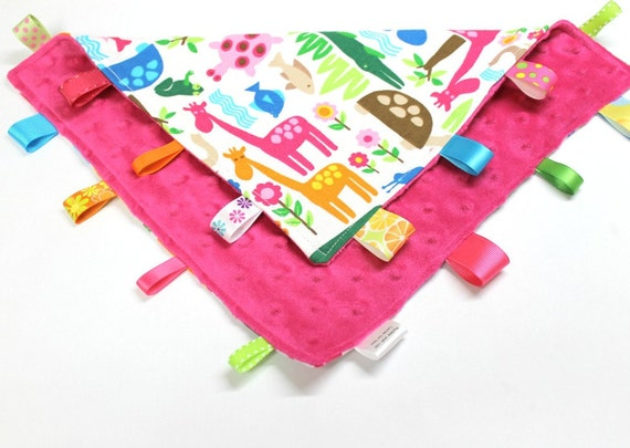 Girl Zoo Tag Lovey, Girly Animals, Pink Minky Dot, Ribbon Lovey
