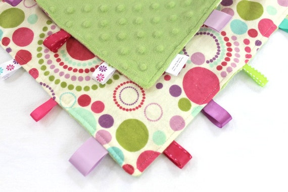 Girl Dots Ribbon Lovey Tag Blanket, Pink Purple with Lime Minky Dot