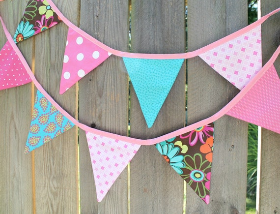 Bright Girl Reversible Fabric Flag Bunting, Pink Teal Brown, 10 Flag with Pink Ribbon
