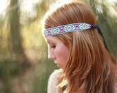 Red, White, Blue Embroidered Headband