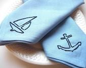 Nautical Hand Embroidered Eco Friendly Napkins set of 2