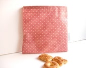 Reusable Sandwich Bag with romantic pink and white polka dots
