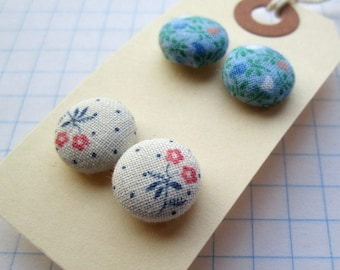 2 Pair of Fabric Button Earrings