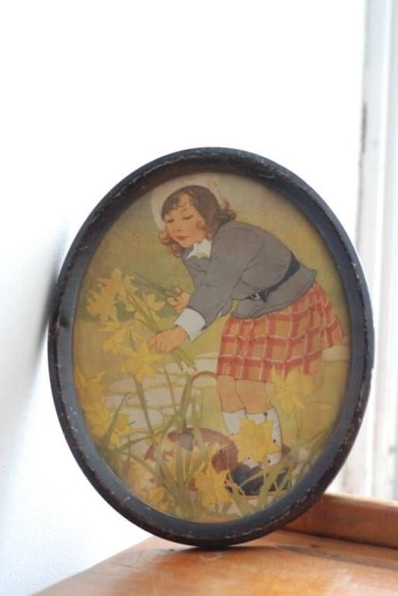 Vintage Girl Gardening Print Framed