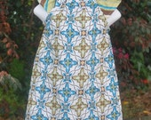 Teal,Brown and Green flower dress