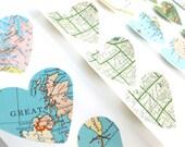 Vintage Map Heart Sticker Seals