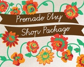 Etsy Shop Banner and Avatar Set - Red and Orange Flowers with Vines