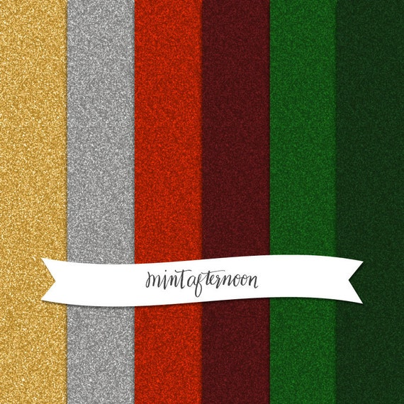Digital Scrapbooking Paper Pack - Christmas Glitter in Red, Green, Gold, and Silver