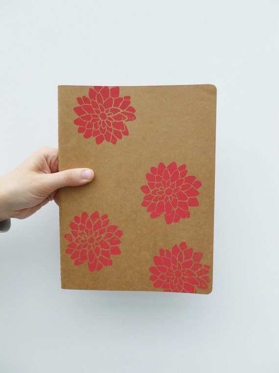 SALE - Extra Large Moleskine Notebook with Dark Pink Dahlias