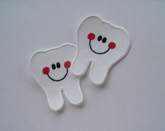 Multiple Teeth, Small Tooth, Tooth Fairy, Smile Tooth Applique, Iron On - Sew On Tooth Applique Patch, Halloween Tooth Patch, Tooth Fairy