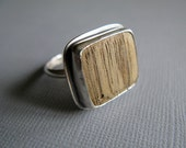 Reclaimed Wood & Sterling Silver Ring, Square, made to order