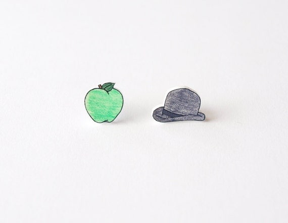 Apple and Bowler Hat Stud Earrings - Made To Order