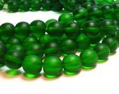"1 / 2 str 8"" Green Shamrock 10mm sea beach velvet glass beads matte frosted round"