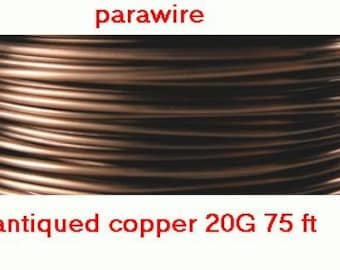 20 Gauge 75' (25y) ANTIQUE COPPER Non Tarnish Permanently Colored Enameled craft Wire round lead free