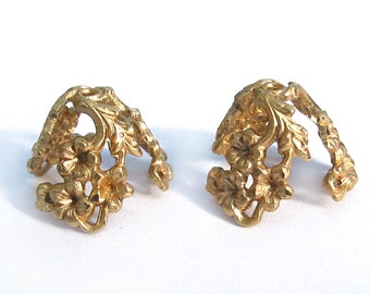 6 Large raw solid Brass flower Floral  Bead Caps vintage filigree for patina Art Nouveau Styled rhinestone setting