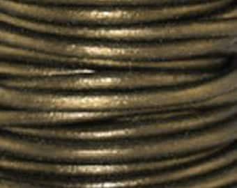 2m ( 6.5 feet)  2mm GAURIYA Leather Cord Metallic Premium Quality Round soft USA lead free