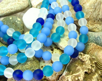 "8"" blue & white mix 8mm sea beach velvet glass beads matte frosted medium round 25pcs"