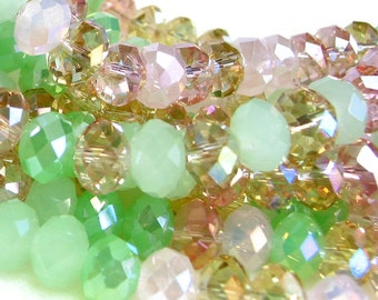 """8""""  36pc cherry blossom mix 8mm x 5mm designer glass rondelle Beads faceted crystal"""