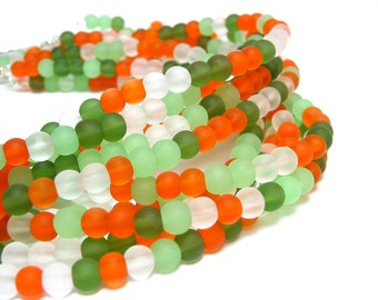 "1 / 2 str 8"" MARIGOLD orange green mix 4mm sea beach velvet glass beads matte frosted small round"