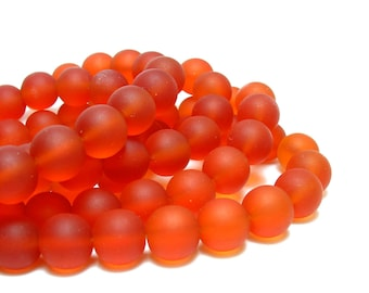 "8"" (24pcs ) tangerine red 8mm sea beach velvet glass beads matte frosted medium round"