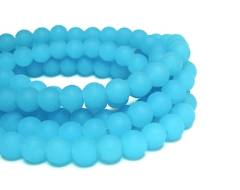 "8"" (35pcs) sky blue  6mm opaque sea beach velvet glass beads matte frosted small round"