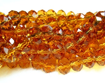 "8"" 36pc amber 8x5mm designer glass rondelle Beads faceted crystal"
