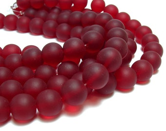 "1 / 2 str 8"" Garnet Red 10mm sea beach velvet glass beads matte frosted medium round"