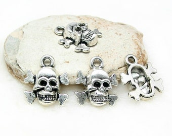 8 SKULL with bones 14mm x 12mm antique silver charm pendant beads metal findings LEAD FREE