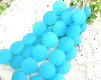 "4"" / 8"" AQUA BLUE 15mm opaque coin sea beach velvet glass beads matte frosted small"