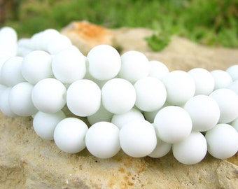 "8"" WHITE 8mm opaque sea beach velvet glass beads matte frosted round recycled"