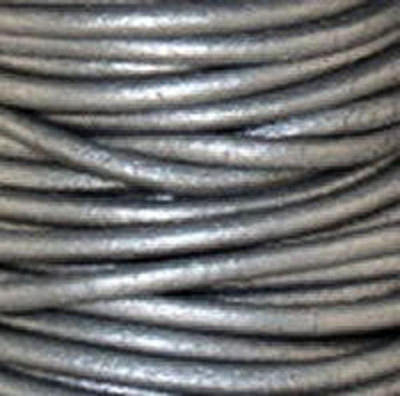 2m (6.5') 1.5mm Leather Cord Metallic SILVER GRAY Premium Quality Round soft lead free USA